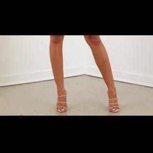 Nude triple strap heels